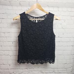 Talula Cropped Black Sheer Lace Top Boho Bohemian